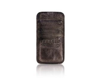 iPhone 6+, iPhone 7+ RETROMODERN aged leather pocket - - DARKBROWN
