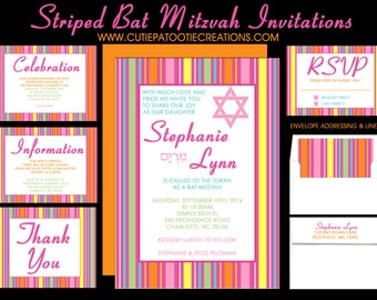 Pink and Orange Bat Mitzvah Invitations, Save the Date Card, Thank You Notes, RSVP, Guest and Return Addressing - Use for ANY EVENT