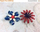 10% OFF Vintage Enamel Flower Brooches Red White and Blue Pair Adorable Enamel Metal Jewelry Brooches 60s Mod