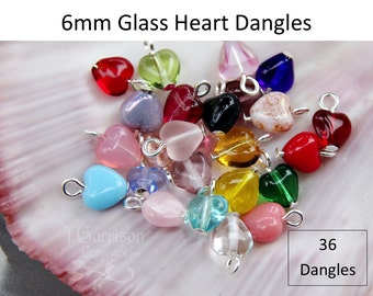 36 (Thirty six) 6mm glass heart dangles- birthstone colors & more- silver, gold, ant brass, copper, gunmetal or antiqued silver plated loops