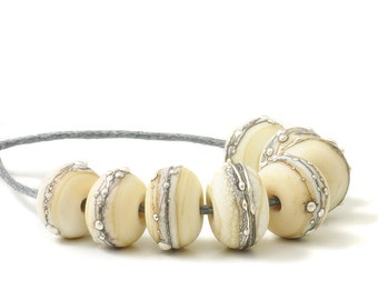 Flameworked Glass Beads | Silvered Ivory Lampwork Glass Bead Set | Etched Cream Beads | UK SRA | Artisan Handmade Beads