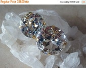ON SALE Large Crystal Clip Earrings, Sarah Booth Earrings,