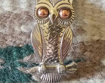 Bell Owl Pin, Nickel Silver Collectible Owl, Vintage Owl Brooch