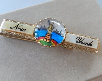 Vintage New York Tie Clasp, Mother of Pearl Tie Clasp, Gift for Him
