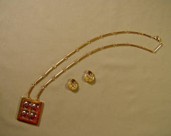 Vintage Artistry Signed Modernist Pendant Necklace & Small Hoop Clip Earrings 9258