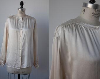 SALE 50% OFF Vintage SILK Ivory Satin Button Down Blouse Shirt 80s M-L