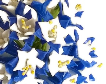 Miniature Polymer Clay Flowers Supplies for Dollhouse, Blue Mountain Columbine, set of 10 Blossoms