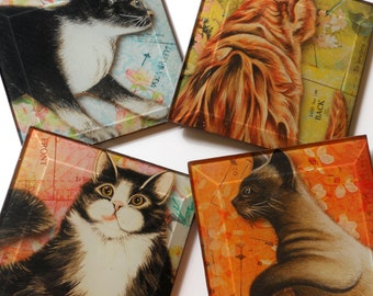 Cat Coasters - Set of Four Handmade 4 or 5 inch Square Decoupage Beveled Glass Art Drink Coasters - The Cat's Meow