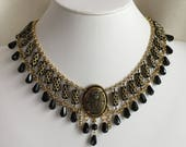 Antique Gold and Black Egyptian Flexible Collar Necklace