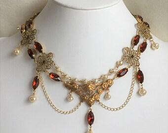 Madeira Topaz Rhinestone and Pearl Edwardian or Renaissance Style Festoon Necklace