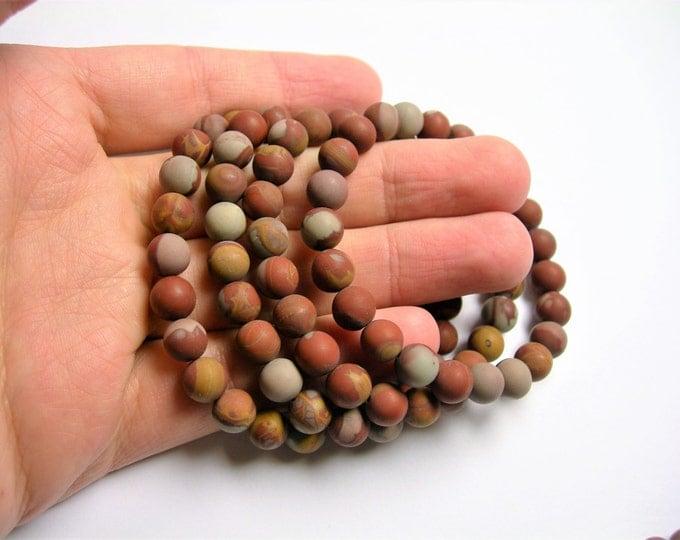 Noreena Jasper   - 8mm round beads - matte - 23 beads - 1 set - A quality - HSG43