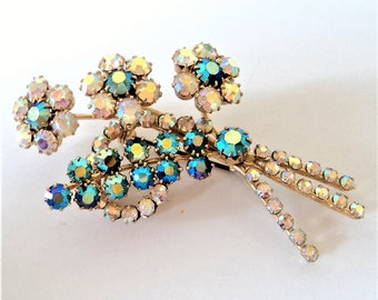 c.1950s AB Lustre Spray Brooch... Clear & Dark Green Diamante