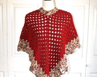 Granny Knit Poncho . Vintage 1970s Handmade Crocheted Dark Red Boho Hippie Bohemian Gypsy Poncho Cape . Size Small Medium