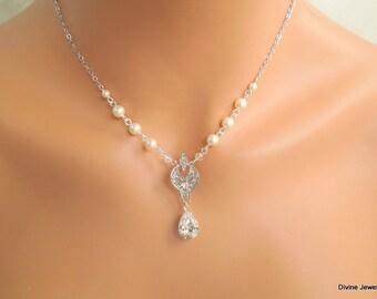 Backdrop Pearl Necklace Crystal Necklace Bridal Necklace Vintage Style Wedding Jewelry Crystal Bridal Necklace Swarovski Pearl  ALLY