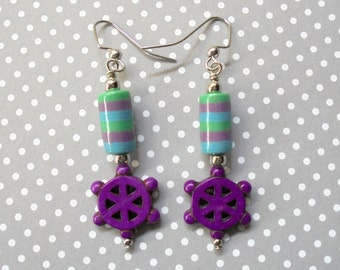 Purple, Green and Aqua Striped Nautical Earrings (3393)