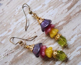 Purple, Pink, Yellow and Green Flower Earrings (3479)