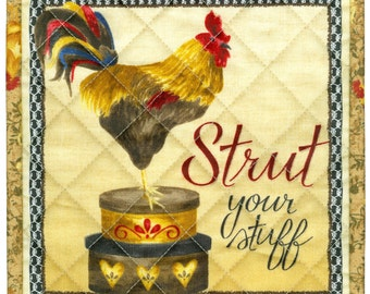 Proud Rooster Potholder, Strut Your Stuff, handmade quilted pot holder kitchen 8 x 8 lr