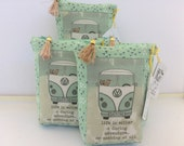 """HE.art by CC VW Bus Zippered Pouch, """"Life is Either a Daring Adventure..or Nothing at All"""" (Mint with Tiny Flowers)"""