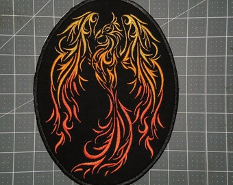 "Large Fierce Phoenix Iron on Patch 8"" x 10"""