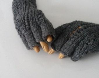 Dark gray Half Finger- Anthracite Fingerless Gloves-READY TO SHIP