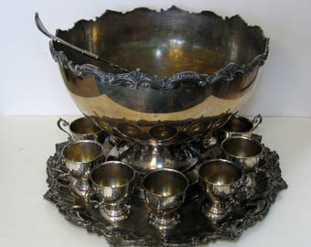 Silver Plated Punch Bowl Set