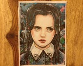 Wednesday Addams Patch - Sew On Patch Tattoo Art Punk Goth Addams Family