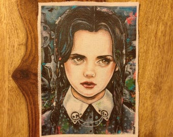 Wednesday Addams Patch - Sew On Patch Tattoo Art Punk Goth Addams Family