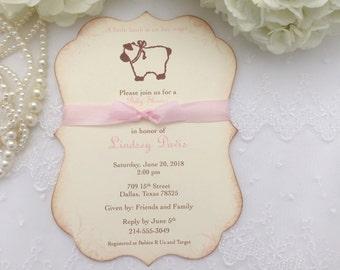 Girl Lamb Invitations Pink Lamb Baby Shower Birthday Printed Set of 10
