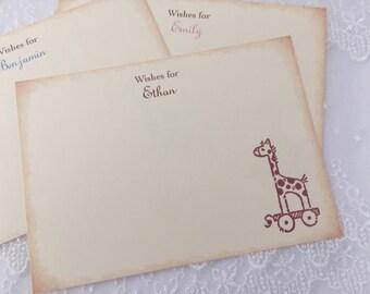 Giraffe Wish Cards Baby Shower Set of 10