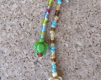 Hand Beaded Triple Strand Hair Clip With Howlite Turtles And Seed Beads