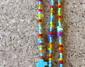 Hand Beaded Triple Strand Hair Clip With Seed Beads And Crosses