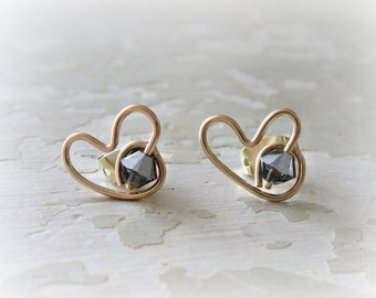 Gold Heart Posts, Heart Stud Earrings, Crystal Posts, Crystal Heart Posts, Love Post Earrings, Gold Heart Studs, Valentines Day, Gold Studs