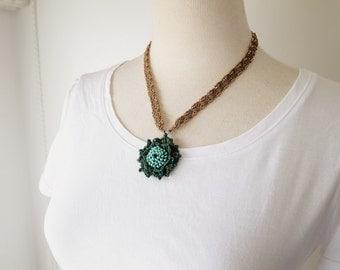 Irish Crochet Lace Jewelry (Camellia 4-c) Lace Necklace,Fiber Art Necklace, Crochet Necklace
