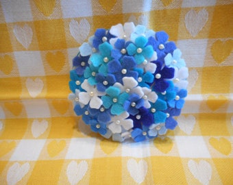 Felt Hydrangea Pin in Blue, White and  Turquoise