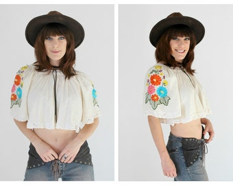Embroidered Oaxacan Crop Top- Mexican Vintage Boho Hippie