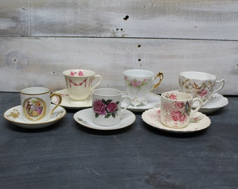 Lot of Mismatched Vintage Tea Cups, Cup and Saucer, Tea Party Collection, Petite Tea Cups, Bone China, Mad Hatter, Wedding