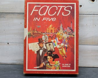 1976 Facts in Five Game, The Game of Knowledge, Leisure Time Games, AH Bookshelf Game, The Avalon Hill Game Co.