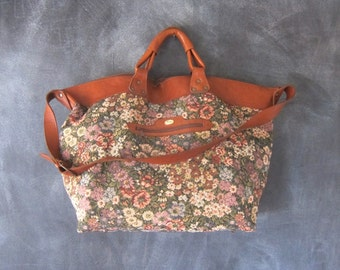 80s Giant Tote Vintage Floral Tapestry Large Duffle Overnight Slouchy Travel Bag