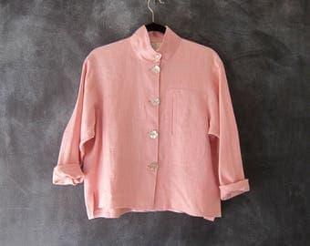 90s Pink Linen Cropped Oversized Jacket Boxy Modern Minimal Normcore Blazer Shirt Blouse Ladies Size S/M