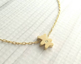 Teddy Bear Necklace - personalized letter stamped little gold pendant - initial engrave special baby shower gift child small charm girl