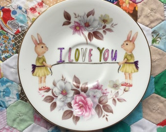 I Love You Twin Bunnies with Soft Floral Vintage Illustrated Plate