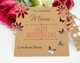 Personalised Mothers day card Tag with Envelope