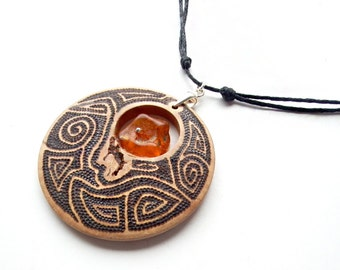 OOAK  Burned wood pendant with Baltic amber and silver sterling, on cotton strings with sliding knots - pyrography
