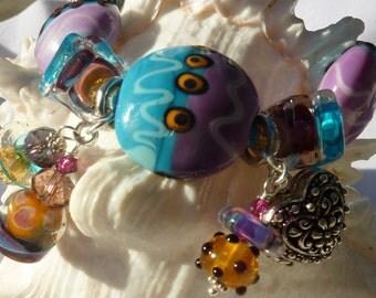 Lampwork Bracelet and Earrings FUNKY FUN