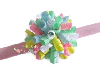 Pastel Korker Bows for Pigtails or Headbands/Infant Headbands/Korker Hairbows/Corkscrew Bow Headband/Babygirl Hairband/Baby Hair Bows