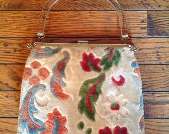 Vintage 1950's  Lucite Tapestry Rug Carpet Interchangeable Cover Purse Bag