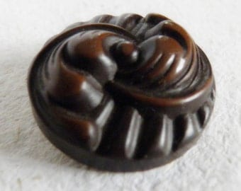 Vintage Buffed Celluloid Button Brown
