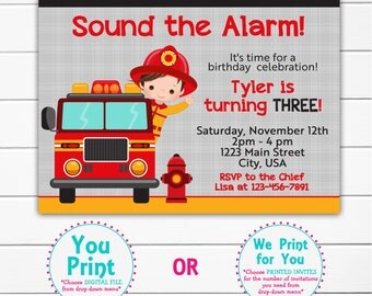 Fire fighter birthday invitation -- fire man  firefighter birthday party -- custom invitation - You print or i print