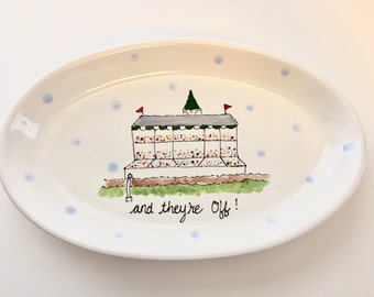 KENTUCKY DERBY platter, Kentucky Derby party, Derby platter, Horse racing platter , And they're off platter, KY pottery, Derby pottery,