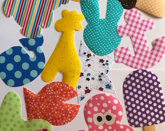 13 Iron On Baby Girl Fabric Applique Assortment..Duck/Giraffe/Bunny/Butterfly/Popsicle..Great For Baby Shower Onesie Making/Quilts/Onesies